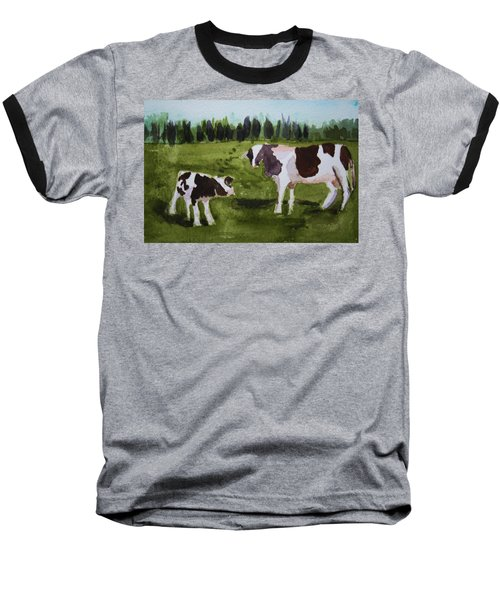 Baseball T-Shirt featuring the painting Vermont Cow And Calf by Donna Walsh