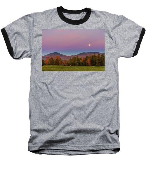 Vermont Fall, Full Moon And Belt Of Venus Baseball T-Shirt by Tim Kirchoff