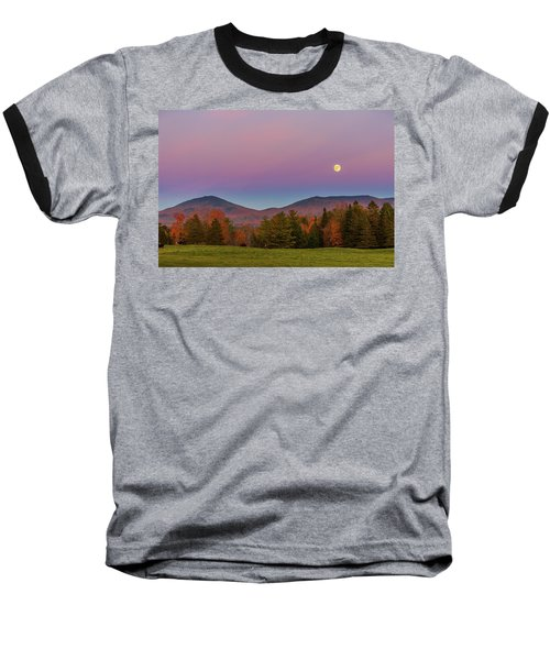 Vermont Fall, Full Moon And Belt Of Venus Baseball T-Shirt