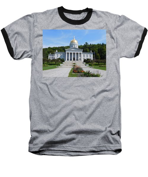 Vermont State House Baseball T-Shirt by Catherine Gagne