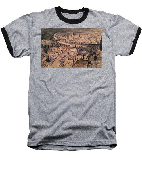 Baseball T-Shirt featuring the drawing Verona Birdview Drawing by Maja Sokolowska