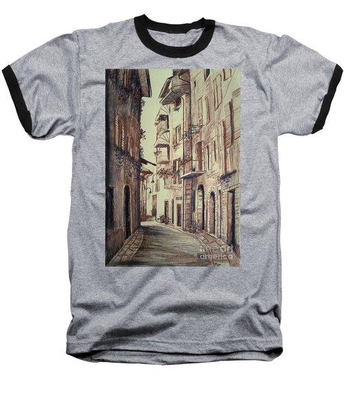Verona Drawing Of A Narrow Street Baseball T-Shirt by Maja Sokolowska