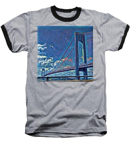 Verrazano Bridge Baseball T-Shirt by Rita Tortorelli