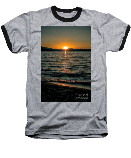 Vertical Sunset Lake Baseball T-Shirt