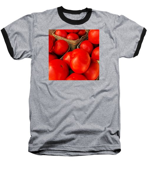 Very Red Tomatoes Baseball T-Shirt by Lewis Mann
