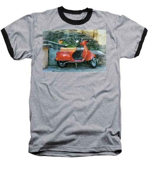 Baseball T-Shirt featuring the painting Vespa Parked by Jeff Kolker