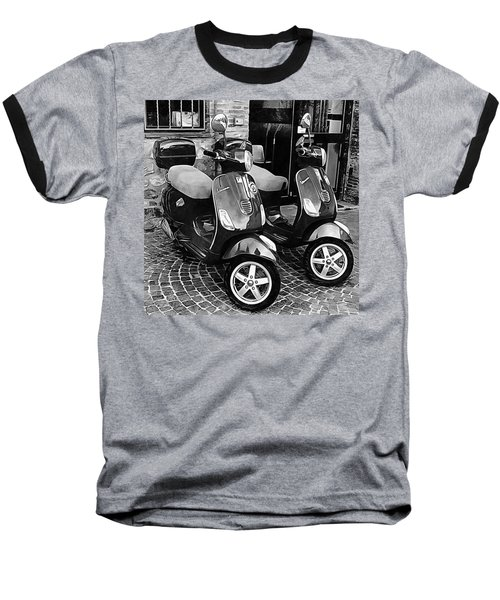 Vespa Twins Black And White Baseball T-Shirt