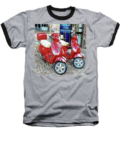 Vespa Twins Red Baseball T-Shirt