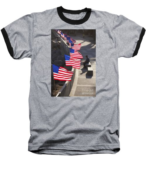 Veteran With United States Flags Baseball T-Shirt by John A Rodriguez