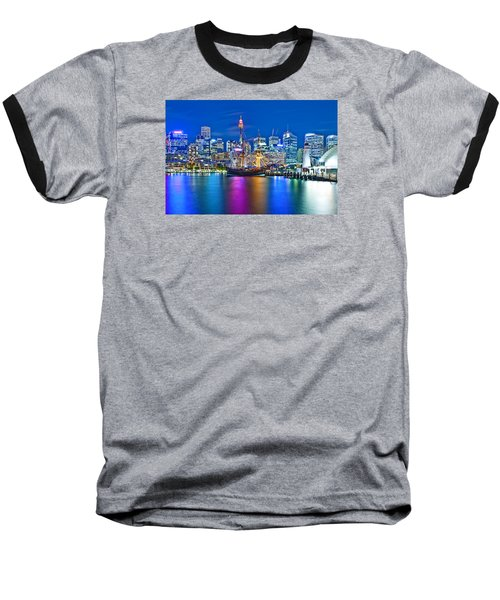 Vibrant Darling Harbour Baseball T-Shirt by Az Jackson