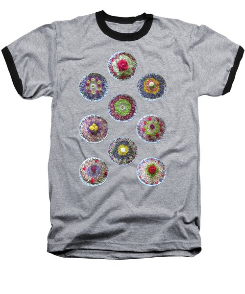 Baseball T-Shirt featuring the photograph Vibrant Floating Flowers On Black by Gill Billington