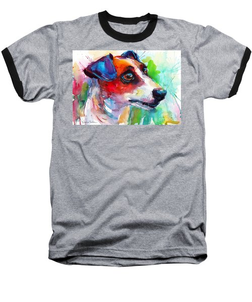 Vibrant Jack Russell Terrier Dog Baseball T-Shirt