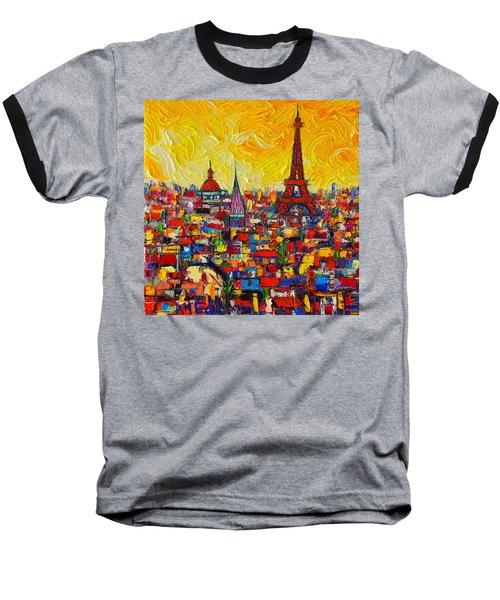 Vibrant Paris Abstract Cityscape Impasto Modern Impressionist Palette Knife Oil Ana Maria Edulescu Baseball T-Shirt