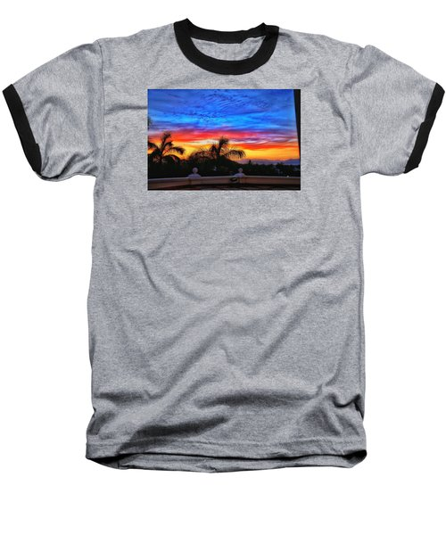 Baseball T-Shirt featuring the photograph Vibrant Sunset In Mexico by Nikki McInnes