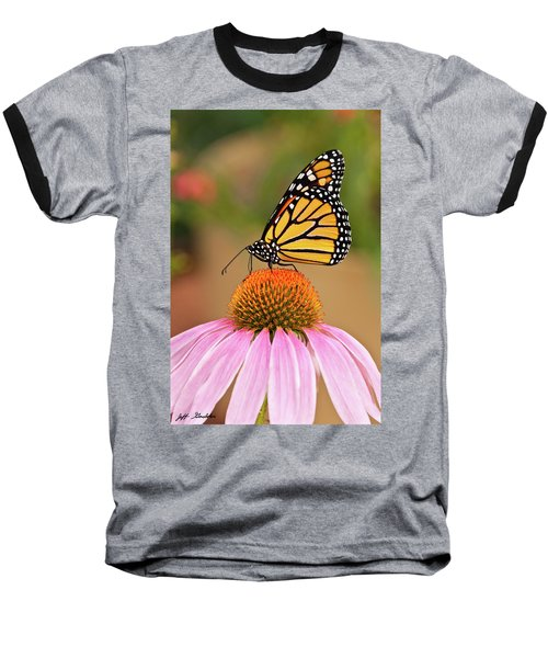 Monarch Butterfly On A Purple Coneflower Baseball T-Shirt by Jeff Goulden