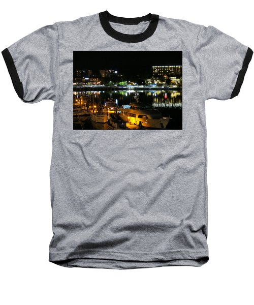 Victoria Inner Harbor At Night Baseball T-Shirt by Betty Buller Whitehead