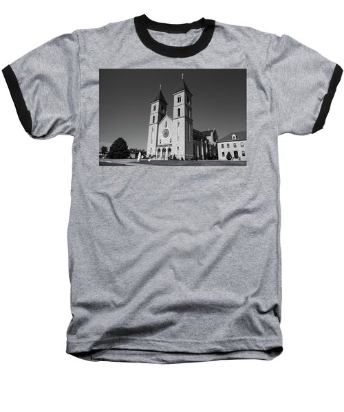 Baseball T-Shirt featuring the photograph Victoria, Kansas - Cathedral Of The Plains 6 Bw by Frank Romeo