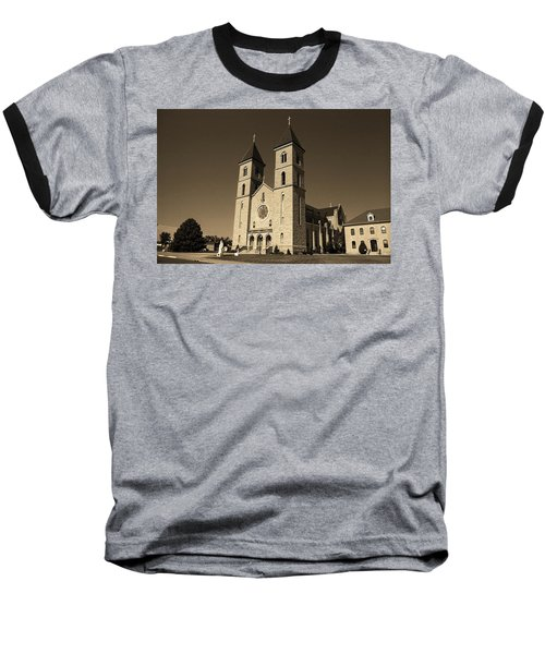 Baseball T-Shirt featuring the photograph Victoria, Kansas - Cathedral Of The Plains Sepia 6 by Frank Romeo