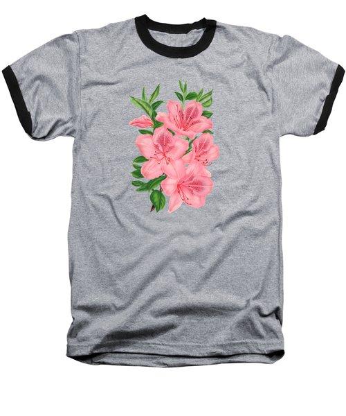 Victorian Pink Flowers On Navy Baseball T-Shirt