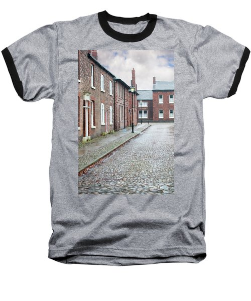 Victorian Terraced Street Of Working Class Red Brick Houses Baseball T-Shirt by Lee Avison