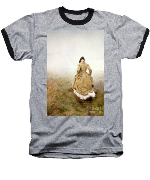 Victorian Woman Running On The Misty Moors Baseball T-Shirt