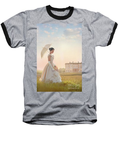 Victorian Woman With Parasol And Fan Baseball T-Shirt by Lee Avison