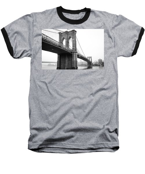 View Brooklyn Bridge With Foggy City In The Background Baseball T-Shirt