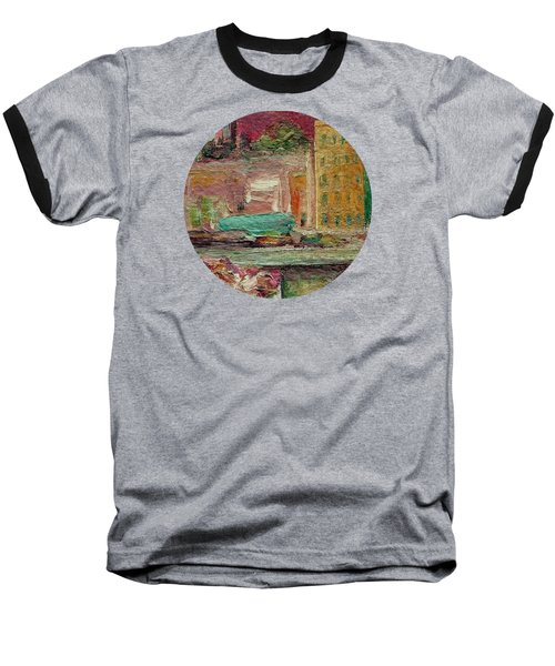 Baseball T-Shirt featuring the painting View From A Balcony by Mary Wolf