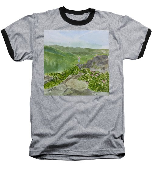 Baseball T-Shirt featuring the painting View From Craggy Gardens - A Watercolor Sketch  by Joel Deutsch