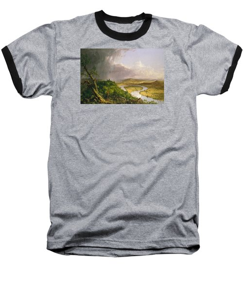 Baseball T-Shirt featuring the painting View From Mount Holyoke Northampton Massachusetts After A Thunderstorm. The Oxbow by Thomas Cole