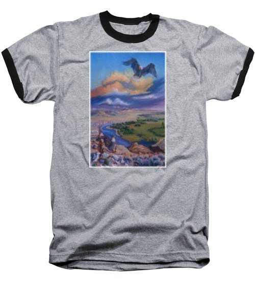 Baseball T-Shirt featuring the painting View From Sheep Rock by Dawn Senior-Trask