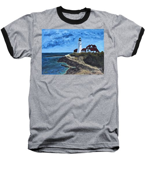 View From The North Portland Head Light Baseball T-Shirt