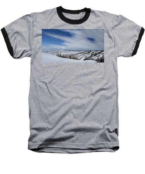 View From The Slope Baseball T-Shirt by Sean Allen