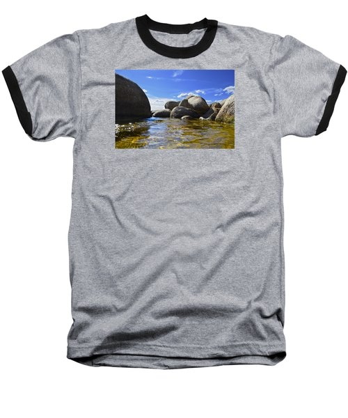 Baseball T-Shirt featuring the photograph View From The Water Of Lake Tahoe by Alex King