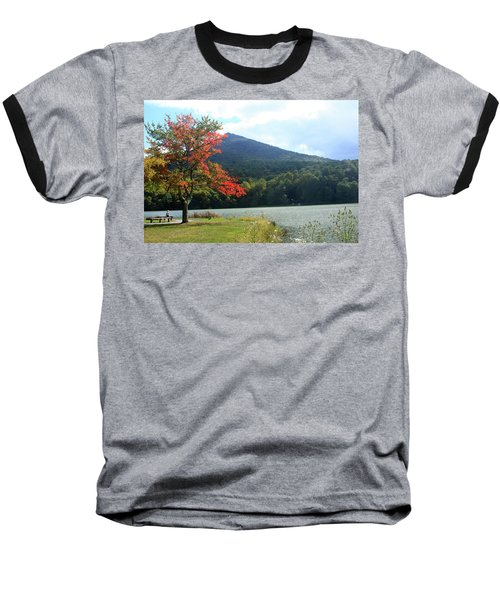 Baseball T-Shirt featuring the photograph View Of Abbott Lake And Sharp Top In Autumn by Emanuel Tanjala