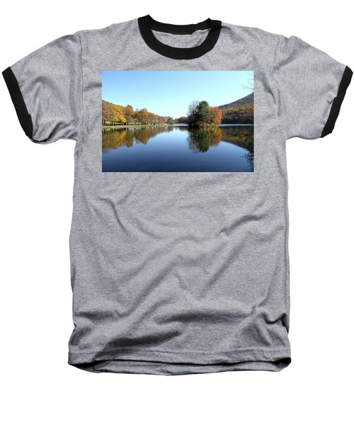 Baseball T-Shirt featuring the photograph View Of Abbott Lake With Trees On Island, In Autumn by Emanuel Tanjala
