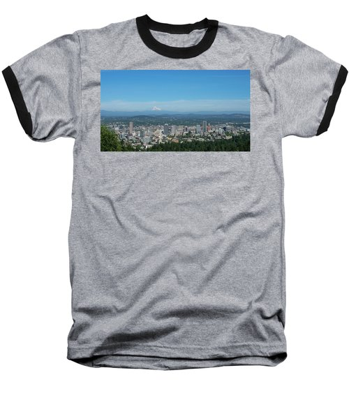 View Of Downtown Portland Oregon From Pittock Mansion Baseball T-Shirt