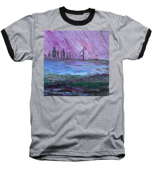 Baseball T-Shirt featuring the painting View On Manhattan by Vadim Levin