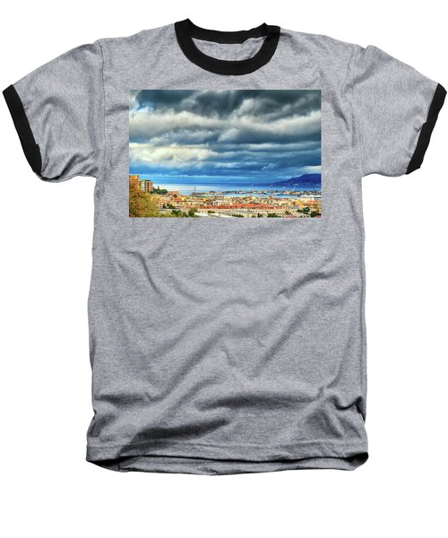 Baseball T-Shirt featuring the photograph View Of Messina Strait Sicily With Dramatic Sky by Silvia Ganora