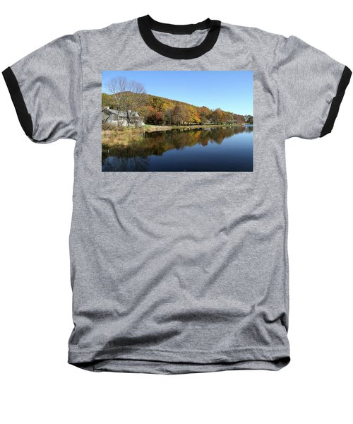 Baseball T-Shirt featuring the photograph View Of Peaks Of Otter Lodge And Abbott Lake  In Autumn by Emanuel Tanjala