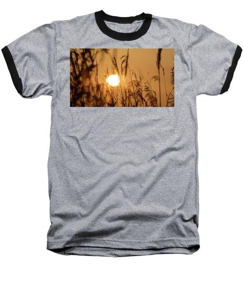 View Of Sun Setting Behind Long Grass B Baseball T-Shirt