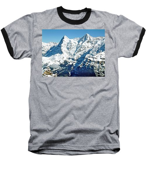 View Of The Eiger From The Piz Gloria Baseball T-Shirt by Joseph Hendrix