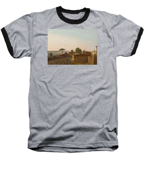 Baseball T-Shirt featuring the painting View On The Quirinal Hill. Rome by Simon Denis