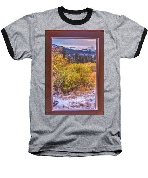 View Out The Frame Of A Broken Window Baseball T-Shirt by Marc Crumpler