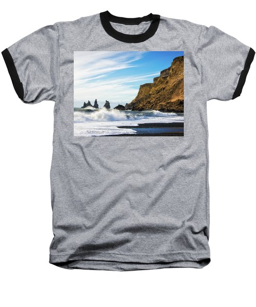 Baseball T-Shirt featuring the photograph Vik Reynisdrangar Beach And Ocean Iceland by Matthias Hauser
