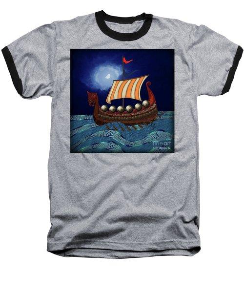 Baseball T-Shirt featuring the digital art Viking Ship by Megan Dirsa-DuBois