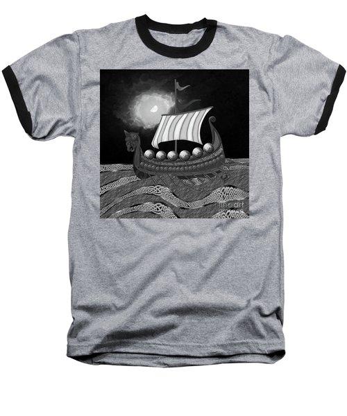 Baseball T-Shirt featuring the digital art Viking Ship_bw by Megan Dirsa-DuBois