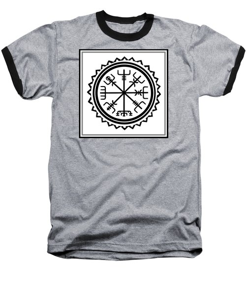 Baseball T-Shirt featuring the digital art Viking Vegvisir Protection Compass by Vagabond Folk Art - Virginia Vivier