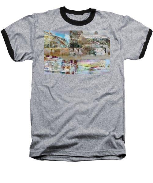 Vikings Stadium Collage 2 Baseball T-Shirt by Susan Stone