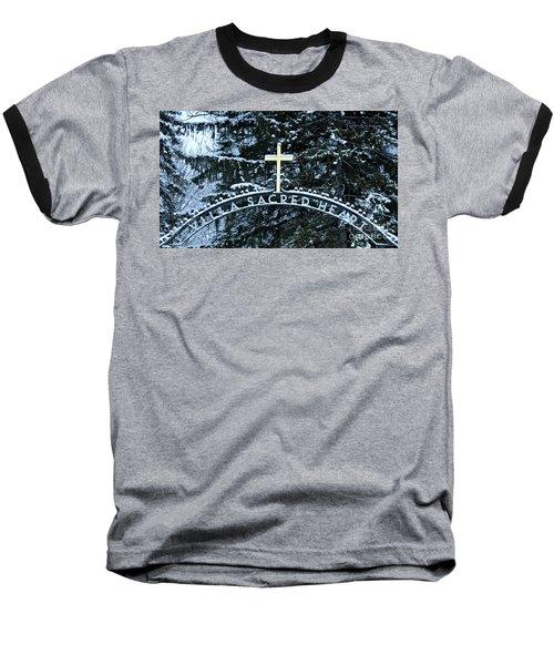Villa Sacred Heart Winter Retreat Golden Cross Baseball T-Shirt by John Stephens